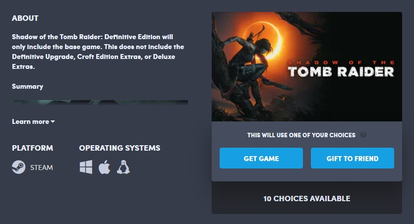 Humble Choiceゲーム選択とゲームキー発行