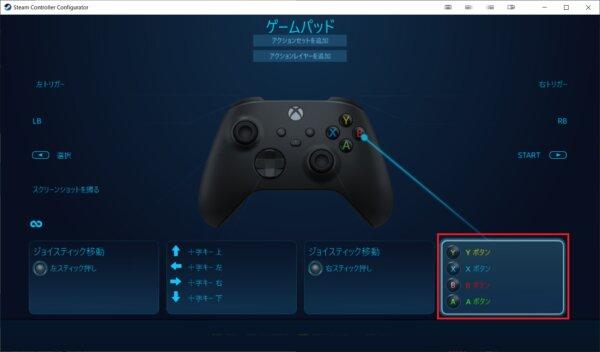Steam コントローラ設定 abxyボタン